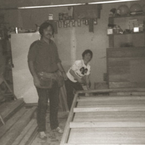 Greg & Jack Berlin building a garage door in 1975