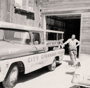 Marty Berlin showing off his custom made utility box on his 1961 GMC work truck.