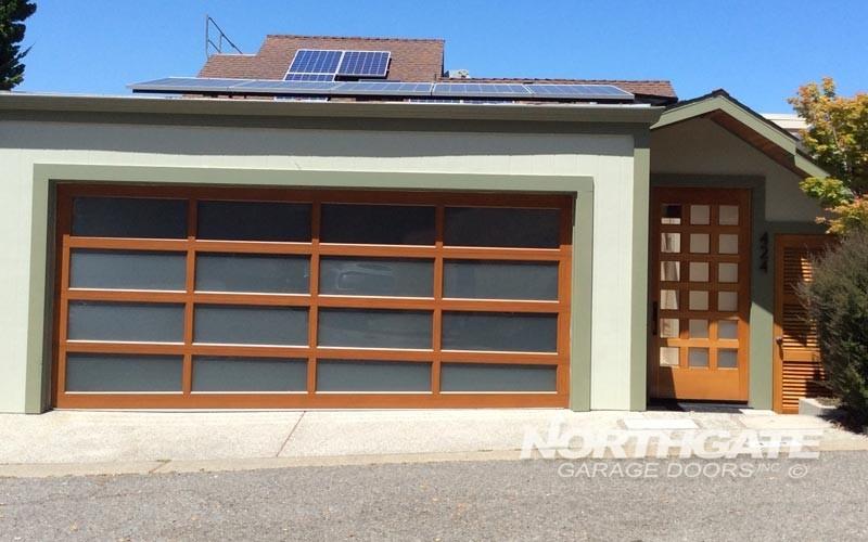 MC0001: Modern Classic, Dark Fir Powder Coat Aluminum Frame, Satin Etch  Glass Panels.