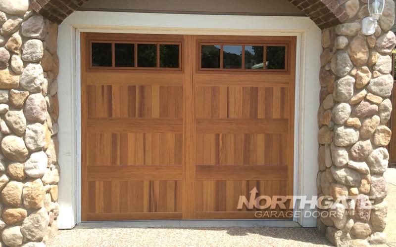 CS0058: Insulated Steel Door, Long Panel, Cedar Accent Wood Tone Finish,  Clear Glass Madison Design, 5983